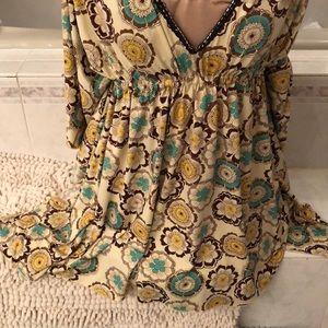 Long teal tunic, coverup or mini-dress. Romeo & J.